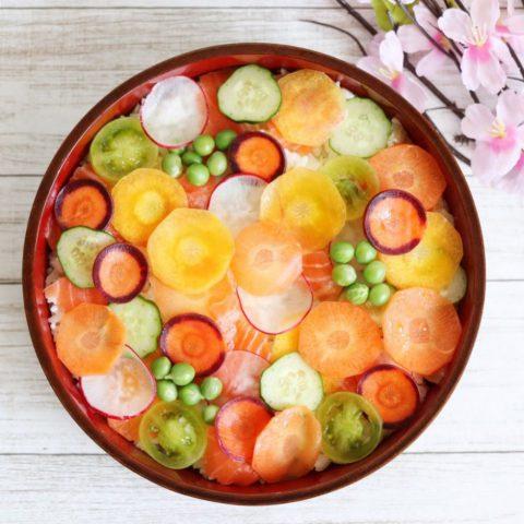 水玉 にんじん ちらし寿司 カラフル