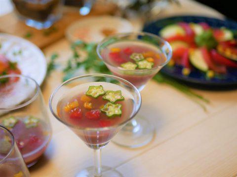 カラフル野菜とナスのプリン仕立て